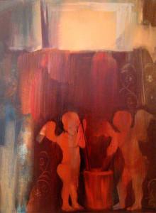 Cupidók a Vettiusok házában 80x60 olaj 2007