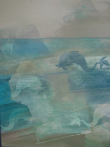 Delfines faltöredék 70x50 olaj farost
