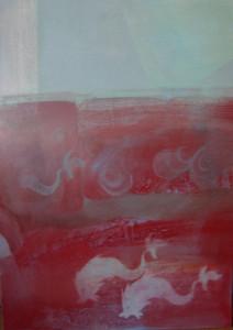 Faltöredék delfinekkel 70x50 olaj