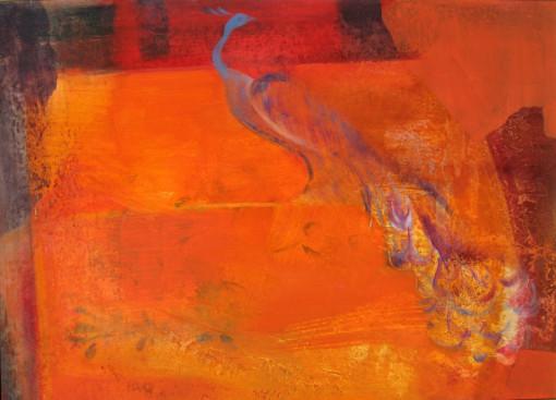 Színes fal pávával 50x70 olaj 2008