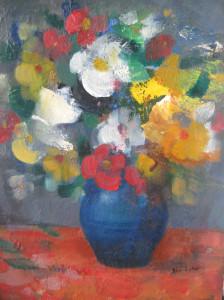 Színes virágok, olaj, farost