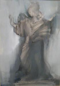 Szürke angyalszobor 70x50 olaj 2006