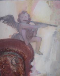 Zenélő angyal 50x40 olaj, farost