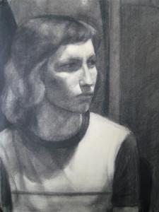 Portré, szénrajz