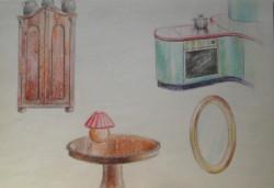 Megjelenítés, egyéb bútorok, színes ceruza