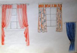 Megjelenítés, függöny, színes ceruza 2