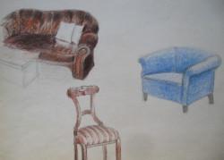 Megjelenítés, kárpitozott bútorok, színes ceruza