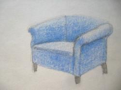 Megjelenítés,  kárpitozott fotel, színes ceruza
