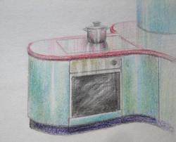 Megjelenítés, konyha, részlet, színes ceruza