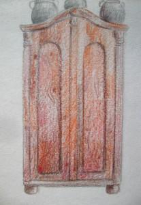 Megjelenítés, szekrény, színes ceruza